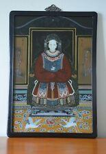 """Vintage Vidrio inversa chino ancestral emperatriz pintura en marco de madera 27 X 19"""""""