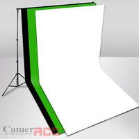 Photo Studio three cotton muslin backdrops( 3 x 6 m) + Background Support kit UK