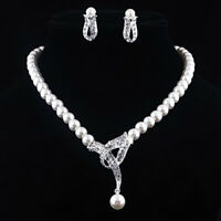 GC- Women Faux Pearl Choker Necklace Earrings Wedding Party Jewelry Set Gift Flo