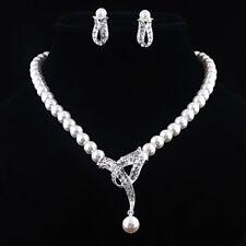 Women Faux Pearl Choker Necklace Earrings Wedding Party Jewelry Set Gift Flowery