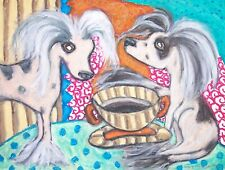 Chinese Crested Coffee Dog 8x10 Signed Art Print of Original Painting by Ksams