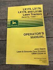 John Deere Lx172 Lx176 Lx178 Lx188 Lawn Tractor Operation & Maintenance Manual