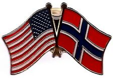LOT OF 12 Norway Friendship Flag Lapel Pins - Norwegian Crossed Flag Pin