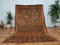 "Antique Moroccan handmade wool carpet 4'5""x7' Vintage Beni Mguild Bohimean rug"