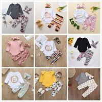3pcs Baby Kid Girl Long-Sleeves Print Clothes Sets Pants Jumpsuit Headwear Lot