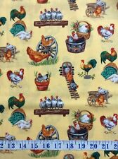 Chickens Roosters Talk Playful Cotton Quilting Fabric 1/2 YARD