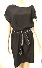 DKNY Dress Black Silk Stretch With Belt Loose Easy Fit With Pockets Size M