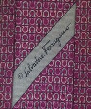 SALVATORE FERRAGAMO MONOGRAM Tie 100% Silk Rose Color L60 W3.4