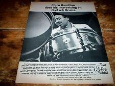 CHICO HAMILTON ( GRETSCH DRUMS ) Original 1969 U.S. Vintage magazine Ad NM