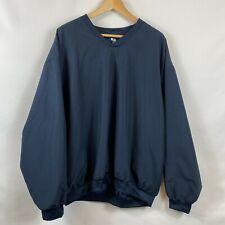 Badger Sport Microfiber Pullover V-Neck Windshirt L Large Mens Navy Blue
