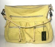 Cavalcanti Embossed Yellow Leather Made In Italy Handbag
