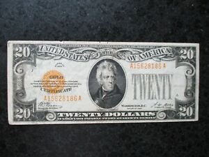 1928 $20 Twenty Dollars Gold Certificate Currency Note Bill Woods Mellon Jackson