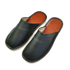 Genuine Leather Women Men House Slippers Indoor Flat Shoes Bedroom Slides Soft