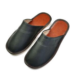 Genuine Leather Women Men House Slippers Indoor Flat Shoes Bedroom Slides Soft