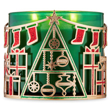 *New* Christmas Scene ~ 3 Wick Candleholder ~ Bath & Body Works ~ Ships Free!