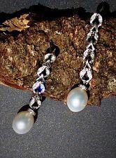 Diamond Oval Pearl 18K White Gold Long Dangle Earrings