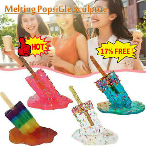 Creative Melting Popsicle Sculpture Ice Cream Resin Ornaments Home Decor Craft