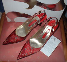 GINA OF LONDON RED LEAF HIGH HEEL SLING BACK SHOES UK SIZE 4.1/2 SPARE HEEL TIPS