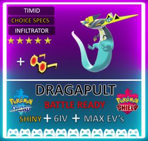 Pokemon Sword & Shield Shiny 6IV Dragapult! MAX EV 6IV! Competitive NOT DITTO