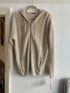 BNWT Littlewoods Thick Chunky Cotton Mix Beige Hooded Cardigan