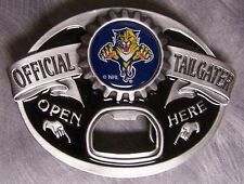 NHL Pewter Belt Buckle Florida Panthers built in bottle opener NEW MADE IN USA