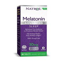 Natrol Melatonin Advanced Sleep Maximum Strength 10mg For Fall Asleep 60 Tablets