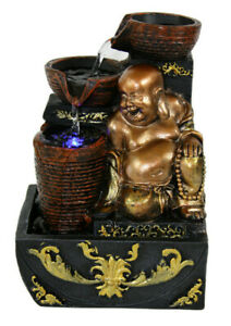 Buddha Scrollwork Indoor Tabletop Water Fountain w/Color Changing LED Light