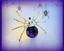 VINTAGE STYLE PURPLE CRYSTAL RHINESTONE SILVER SPIDER PIN BROOCH~HALLOWEEN GIFT