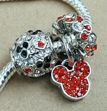 Disney RED Crystal Mickey All Around  Mouse Icon CZ Hearts European Beads Charms