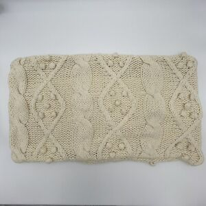 Pottery Barn Throw Pillow Cover Sweater Cable Knit Pillowcase 15x26 Zippered