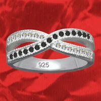 Ring Unendlichkeit Echt 925 Sterling Silber Strasssteine Zirkonia  Kristalle