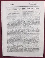 Île Bourbon 1791 Île Maurice La Réunion Colonie Desmazis Journal de Paris