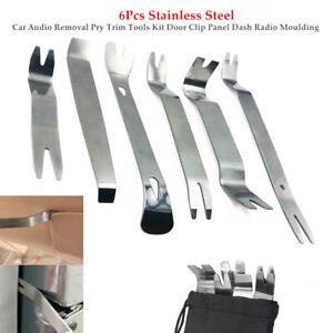 6×Stainless Steel Auto Audio Removal Pry Trim Tools Door Clip Panel Dash Radio