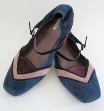 $490 MIU MIU Blue Suede Mary Jane Ballet Flats Sz 7