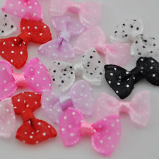 30pcs Organza Dots Ribbon Bows Flower Dot Appliques Sewing Craft Lots B13