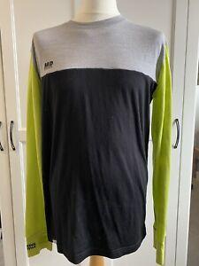 Mons Royale Mens Large Worn Grey / Lime / Black  100% Merino Wool Base Layer