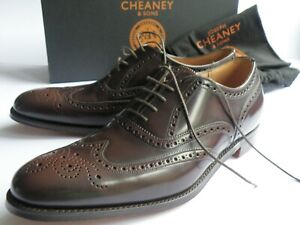 JOSEPH CHEANEY BROWN BROAD MARONITE LEATHER BROGUE SHOES 8 MADE IN ENGLAND NEW