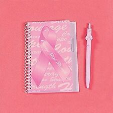 (2) Pink Ribbon Spiral Notebook And Pen Breast Cancer Awareness Stationery Book