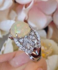 Estate 3.92 ct High-Domed Opal & Diamond Ring in Platinum Setting - HM1412
