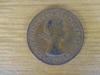 1964 UK Great Britain British One 1 Penny Queen Elizabeth 2 II Coin