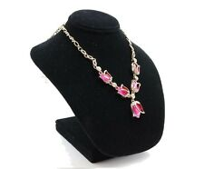 Tulip Flower Rose Gold Plated Chain Clavicle Opal Pendant Necklace Crystal