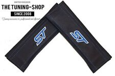"""2x Seat Belt Covers Pads Black Leather """"ST"""" Blue Embroidery for Ford"""