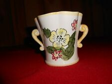 Vintage - Relpo Hand Painted Planter Vase - Floral Double Handle 6709 - 3 3/4 ""