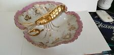 Antique J & S German Porcelain Gold/Pink Lobster Divided Serving Lobster Finial
