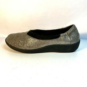 CLARKS CLOUD STEPPERS JETAY 16712 Silver COMFORT SNEAKER LOAFER FLATS 9 M