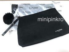 2X Lancome Black Cosmetic Makeup Bag Pouch Clutch W/ Faux-Fur Pom-Pom Charm