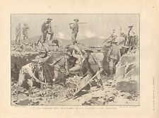 1899 ANTIQUE PRINT - BOER WAR- BLUEJACKETS IN TRENCHES OUTSIDE LADYSMITH