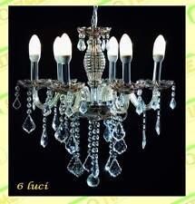 Lampadario moderno classico in cristallo a sospensione soffitto gocce 6 luci