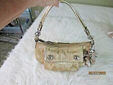 COACH Poppy Gold Metallic Small Summer Handbag with Fob Accents