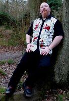 Mens black White Skeleton Roses 50s lounge diner s/s shirt Gothic Rockabilly
